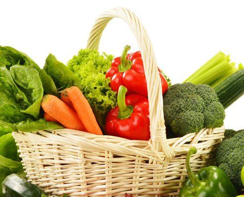 Hintergrundbild Korb mit Gemüse