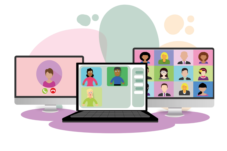 Bildschirm mit Webinarteilnehmenden